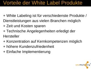 Vorteile der White Label Produkte